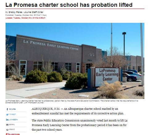 la promesa charter school has probation lifted