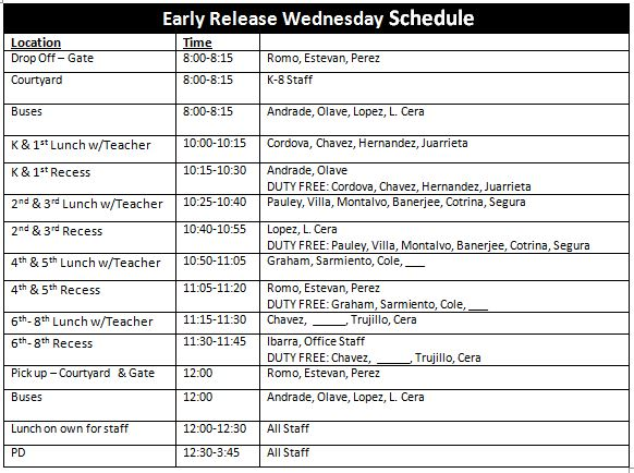 WED EARLY RELEASE